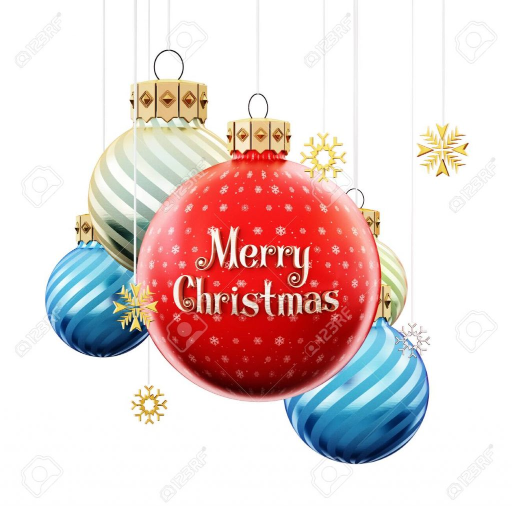 Christmas baubles with merry christmas text. 3D illustration.