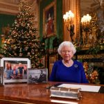 TOPSHOT - A picture released on December 24, 2019 shows Britain's Queen Elizabeth II posing for a photograph after she recorded her annual Christmas Day message, in Windsor Castle, west of London. - During her traditional Christmas address, Queen Elizabeth II intends to call on the British to overcome their divisions after a year