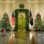 WASHINGTON, DC - NOVEMBER 30: Christmas decorations are on display in the Cross Hall and Blue Room of the White House on November 30, 2020 in Washington, DC. This year's theme for the White House Christmas decorations is